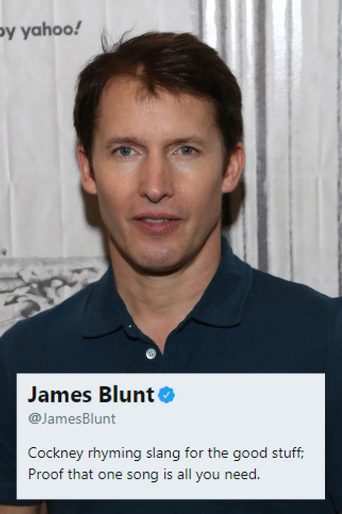 **James Blunt**<br><br>  James Blunt openly admitting that he is a one-hit wonder is what glorious Twitter bios are made of.