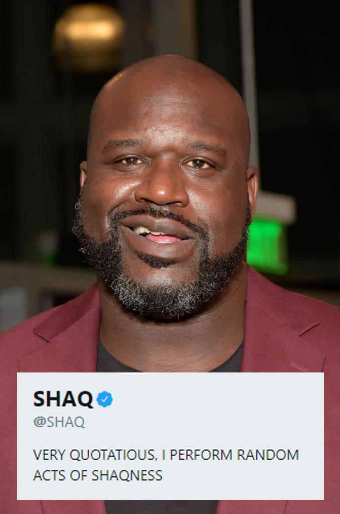"**Shaquille O'Neale**<br><br>  Not sure what ""quotatious"" means (loves quotes?) or what random acts of ""Shaqness"" entail, but Shaquille O'Neale's bio might be one of the best things we've read today."