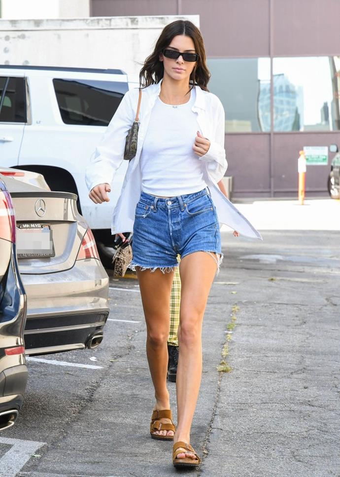 Jenner has worn the statement L.V. piece on low-key outings, too (pictured here in September 2019). <br><br> *Image: Getty*