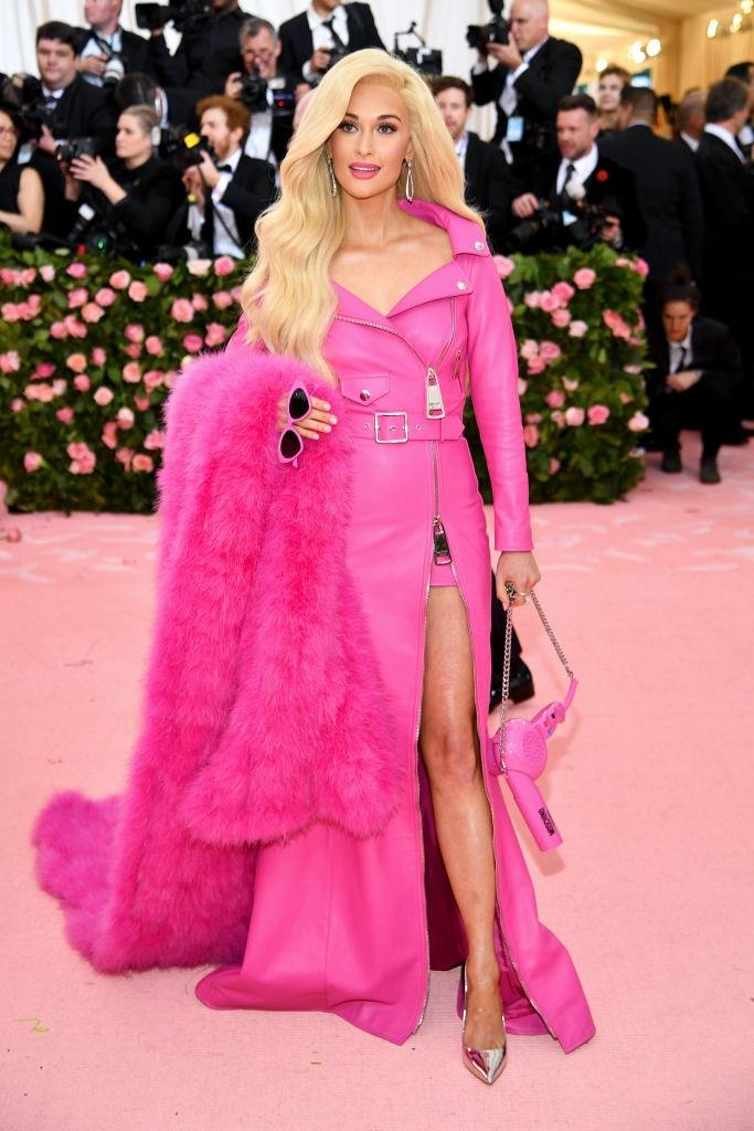 In a custom Barbie Doll-themed outfit by Moschino at the Met Gala in May 2019.<br><br> *Image: Getty*