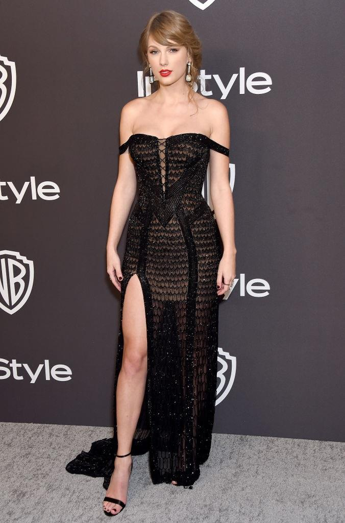 In Atelier Versace at the Golden Globe Awards in January 2019. <br><br> *Image: Getty*