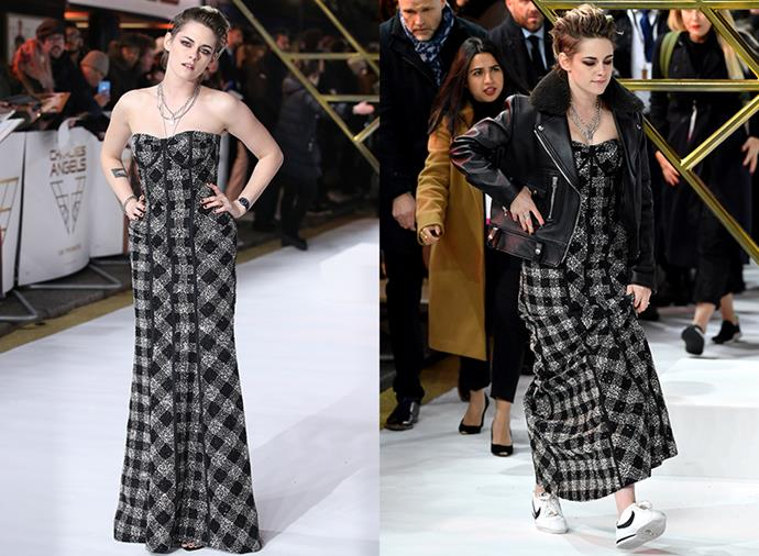 After posing briefly in her Thom Browne gown, Stewart quickly changed into a more comfortable fit, adding a shearling leather jacket and sneakers.