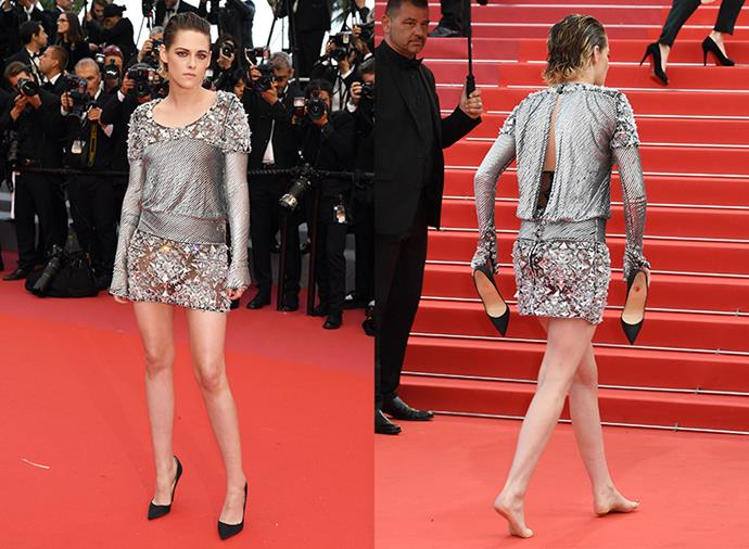 At the 2018 Cannes Film Festival, the actress posed for photos in her black pumps and but walked the rest of the red carpet barefoot.