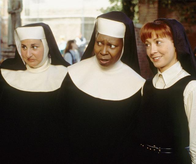 ***Sister Act*** <br><br> A 1992 musical comedy about a lounge singer who's forced to enter witness protection in a convent.