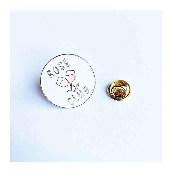 "Rosé pin by A Sensible Habit, $18.43 on [Etsy](https://www.etsy.com/au/listing/462250562/rose-wine-club-official-member-enamel?ga_order=most_releva...|target=""_blank""
