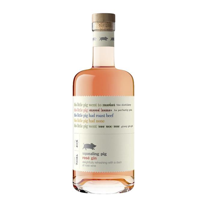 "Rosé gin by Squealing Pig, $66 at [Booze Bud](https://www.boozebud.com/p/squealingpig/rosegin|target=""_blank""