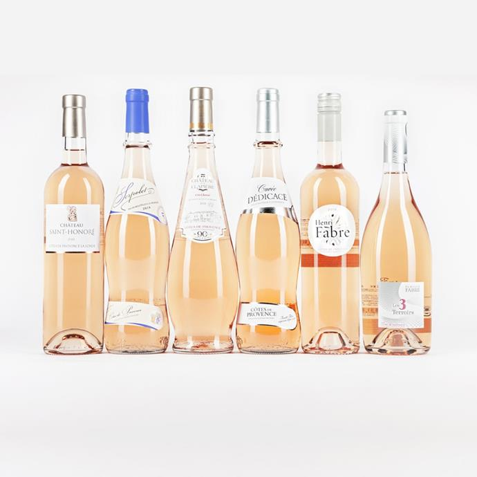 "Six-pack of rosé by Provençal, $120 at [VinoMofo](https://www.vinomofo.com/wines/mixed-case/pink-provence-party-3-0|target=""_blank""