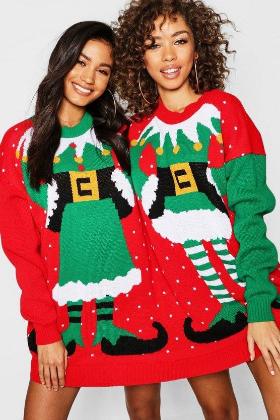 """When humiliating yourself, it's important not to do it alone. Enlist a friend to be your side elf. <br><br> ***Mr & Mrs Elf Two Person Christmas Jumper, $32 at [boohoo](https://fave.co/2qOhFlM