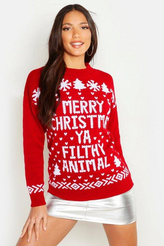 """Pay tribute to the best Christmas movie of all time, *Home Alone*, in this homage of a jumper. <br><br> ***Merry Christmas Ya Filthy Animal Sweater, $19 at [boohoo](https://fave.co/2OoECoA