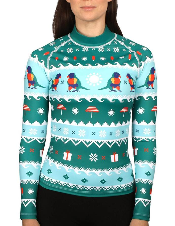 """And if it's 40 degrees on Christmas Day and you're attending a pool party, never fear. There's an ugly Christmas jumper for you too. <br><br> ***Unisex Adult Lorikeet Rashie, $69.95 at [Myer](https://fave.co/2ORo7QQ