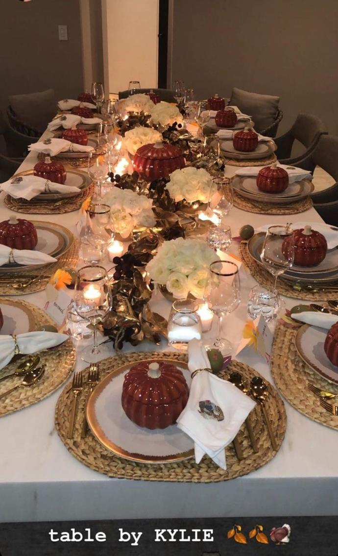Kylie Jenner hosting a Friendsgiving dinner.