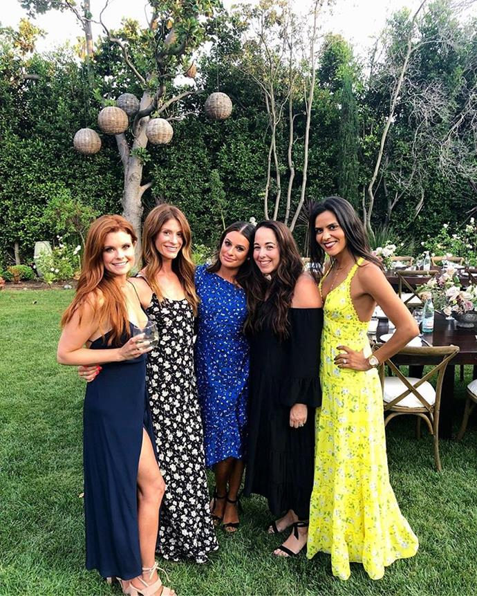 "***Lea Michele*** <br><br> Michele wore a spotted one-shoulder blue-and-white dress to celebrate her engagement to Zandy Reich in July 2018. <br><br> *Image: Instagram [@leamichele](https://www.instagram.com/p/Bl0qJYAhSlw/|target=""_blank""