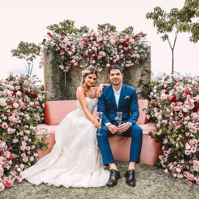 ***Thássia Naves*** <br><br> Later on in the party, Naves changed into a Dolce & Gabbana wedding dress-style gown, posing for photos with her fiancé, Artur Attie Akl. <br><br> *Images: Luiza Ferraz*