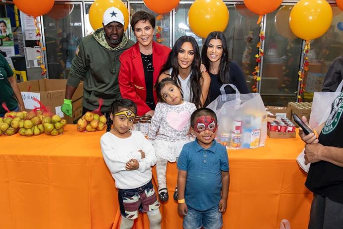 The Kardashian-Jenner family handing out meals at a food bank pre-Thanksgiving.