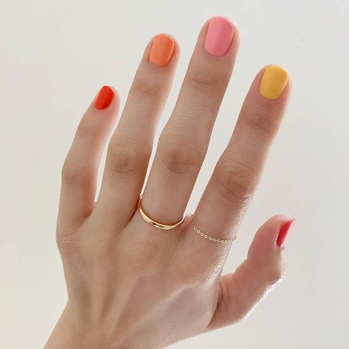"**The Skittle Manicure**<br><br>  Another colourful contender set to dominate 2020? The 'Skittle Manicure'. Characterised by each nail being painted a different shade, either following a tonal spectrum or a mixed bag or rainbow hues (hence the name), the finished result is playful and highly Instagrammable.<br><br>  *Image via [@betina_goldstein](https://www.instagram.com/p/BzGNIOmgJ79/|target=""_blank""
