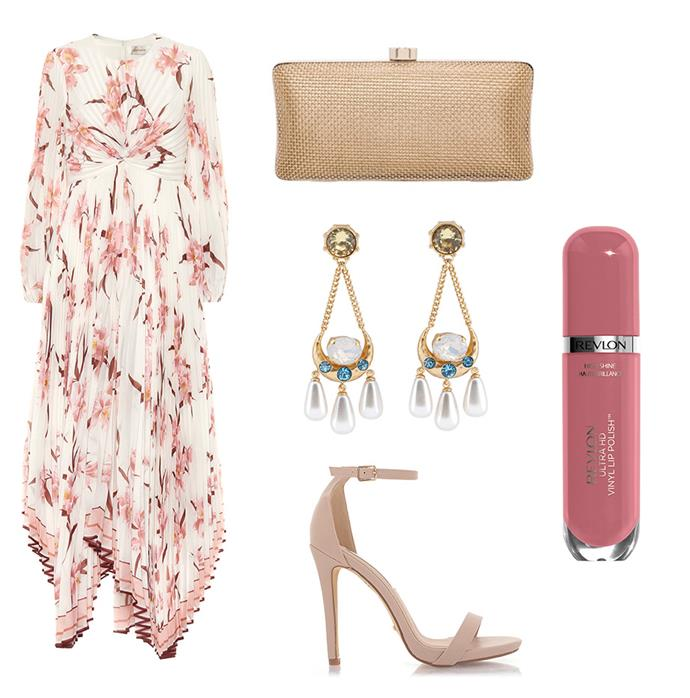 """Dress by Zimmermann, $230 to rent at [Glam Corner](https://www.glamcorner.com.au/designers/zimmermann/corsage-pleated-dress-ivory-peach-orchid