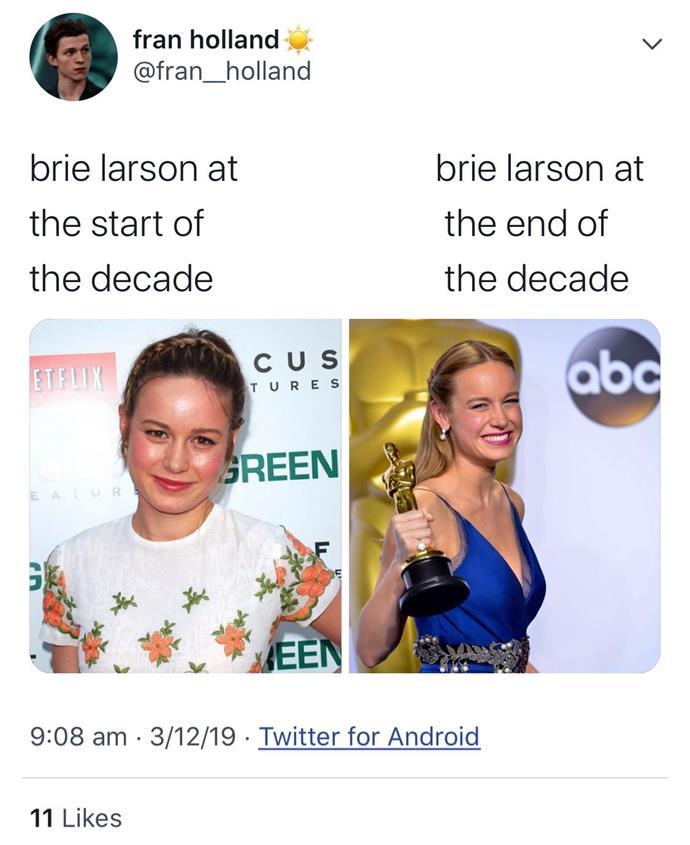 "**Brie Larson** <br><br> *[Twitter](https://twitter.com/fran__holland|target=""_blank""|rel=""nofollow"")*"