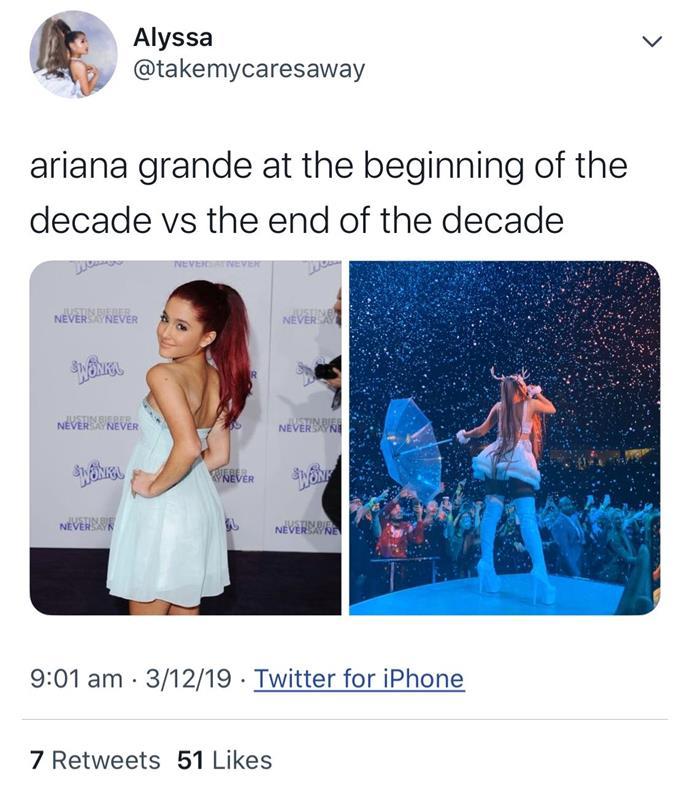 "**Ariana Grande** <br><br> *[Twitter](https://twitter.com/takemycaresaway|target=""_blank""|rel=""nofollow"")*"