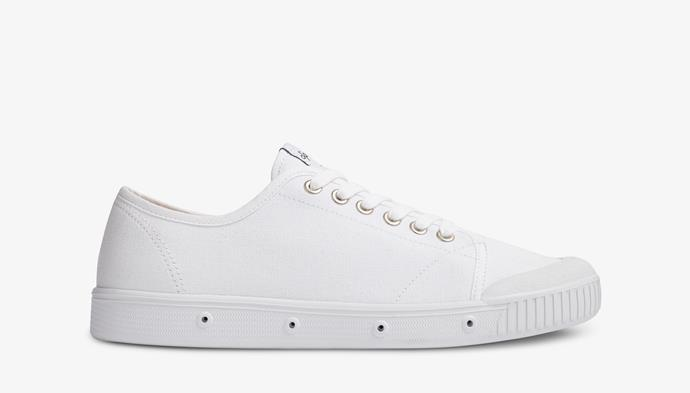 "White canvas sneakers, $135 from [Springcourt](https://springcourt.com.au/collections/canvas-1/products/womens-spring-court-g2-white-lo-cut-canvas-sneaker|target=""_blank""