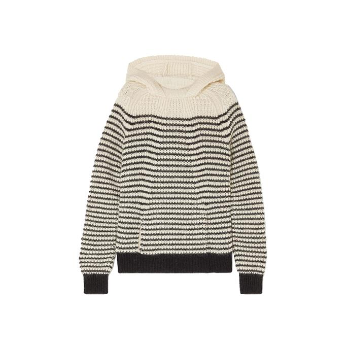 "Saint Laurent striped hoodie, $1935 from [NET-A-PORTER](https://www.net-a-porter.com/au/en/product/1161503/SAINT_LAURENT/striped-knitted-hoodie|target=""_blank""