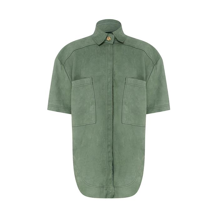 "THE SHIRT: Green short sleeve shirt, $245 from [Aje](https://ajeworld.com.au/products/paperbark-pocket-shirt-gumnut-green|target=""_blank""