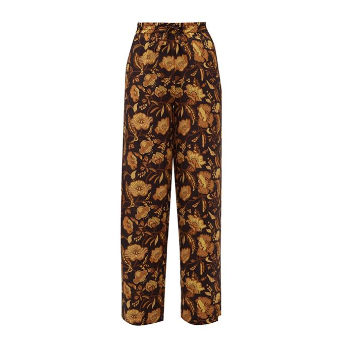 """Pants by Matteau, $555 at [MATCHESFASHION.COM](https://www.matchesfashion.com/au/products/Matteau-High-rise-floral-print-silk-wide-leg-trousers-1321762