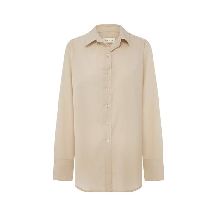 """Shirt by Matteau, $320 at [The Undone](https://www.theundone.com/products/long-sleeve-shirt-stone?_pos=26&_sid=09faedfc5&_ss=r