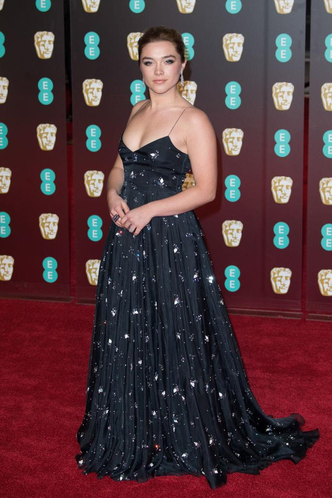 In Miu Miu at the BAFTAs in February 2018. <br><br> *Image: Getty*