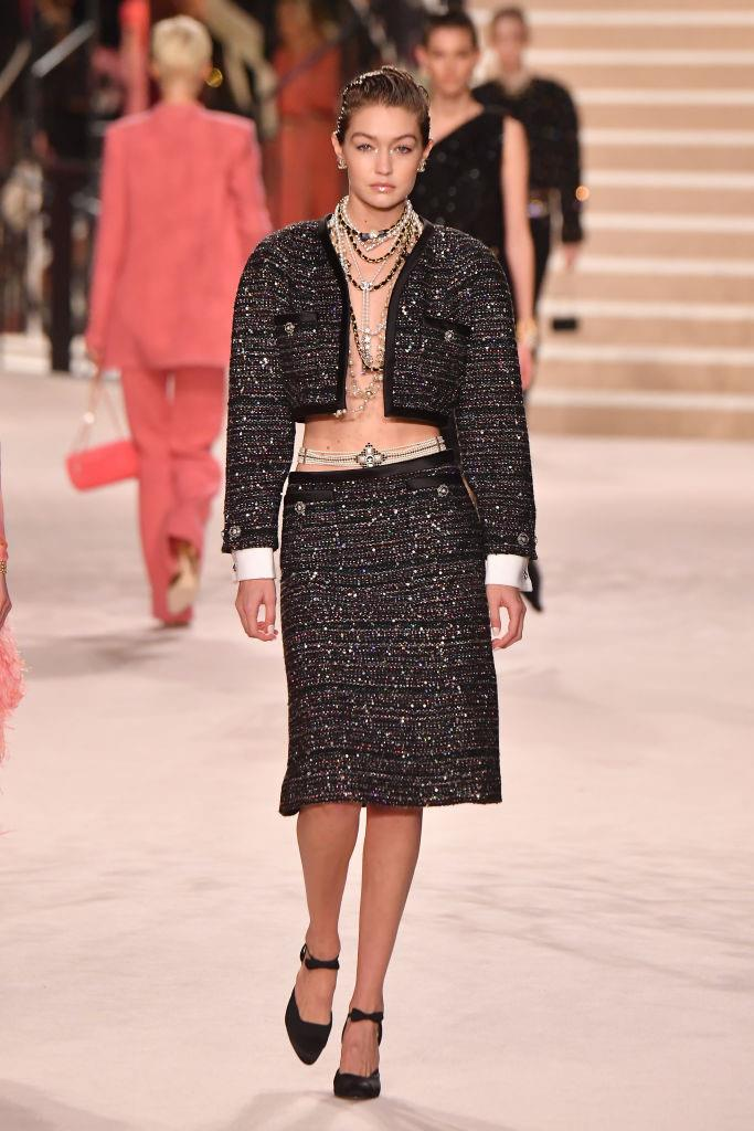 """**A risqué, summer-ready take on the iconic tweed suit:** A potential [runway crasher](https://www.elle.com.au/celebrity/gigi-hadid-chanel-show-crasher-memes-22367