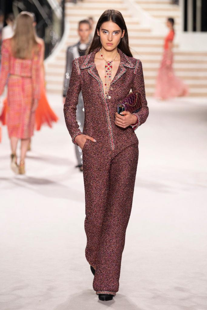 **This powersuit-slash-jumpsuit:** Because everyone needs a Chanel tweed jumpsuit masquerading as a powersuit. The future is now, people.