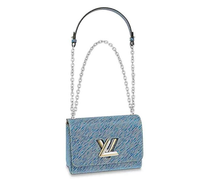 "*'Twist' bag in Epi Leather Denim, $5,300 at [Louis Vuitton](https://au.louisvuitton.com/eng-au/products/twist-mm-epi-denim-012171|target=""_blank""