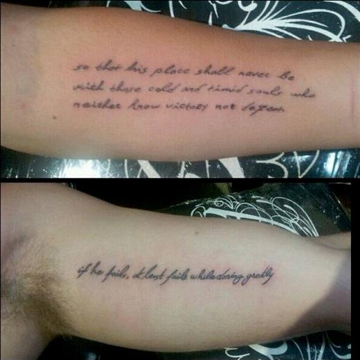 """***Miley Cyrus and Liam Hemsworth***<br><br> Cyrus and Hemsworth have two halves of a Theodore Roosevelt quote on their arm, which reads, """"If he fails, at least fails while daring greatly, so that his place shall never be with those cold and timid souls who neither know victory nor defeat."""""""