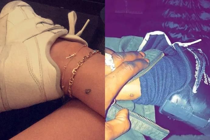 ***Kylie Jenner and Travis Scott***<br><br> Sparking rumours they were intending to name their daughter 'Butterfly,' Travis Scott and Kylie Jenner debuted these tiny butterfly tattoos on the backs of their ankles.