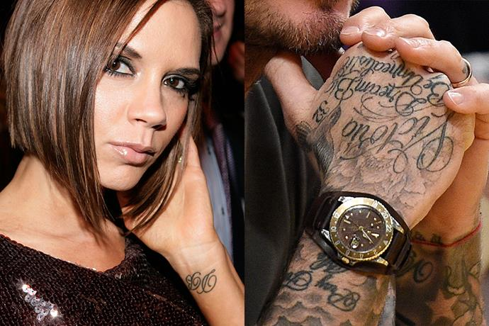 ***Victoria and David Beckham***<br><br> Although not 100% matching, both Victoria and David Beckham have each other's names tattooed. Victoria has 'DB' on her wrist, while David has 'Victoria' nestled into his many hand tattoos. And that's not the only couple tatt they have...