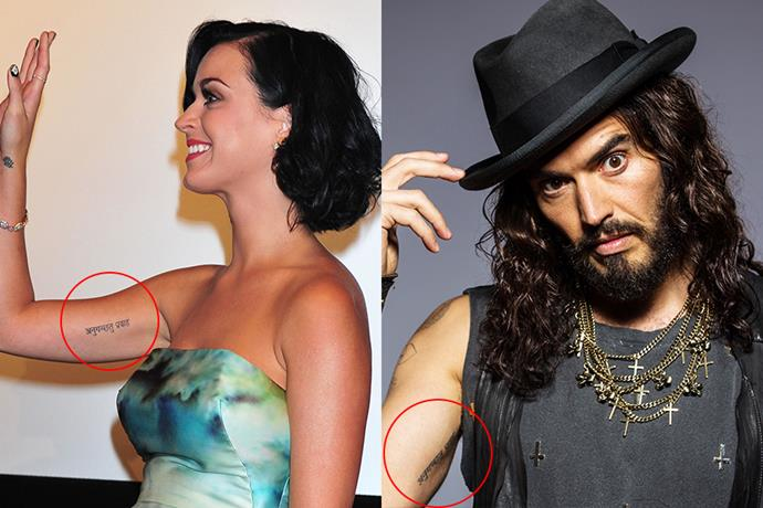 """***Katy Perry and Russell Brand***<br><br> After getting engaged in 2010, the couple got matching tattoos that read """"Anuugacchati Pravaha"""" (""""Go with the flow"""") on their inner arms. Brand has since had his removed."""