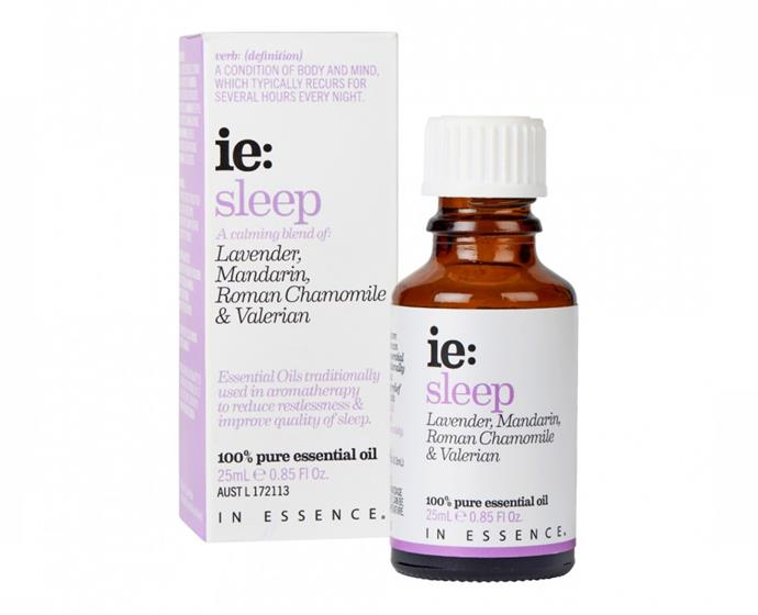 "**ie: Sleep essential oil blend by In Essence, $34.95 at [Priceline](https://www.priceline.com.au/in-essence-ie-sleep-essential-oil-blend-25-ml|target=""_blank""