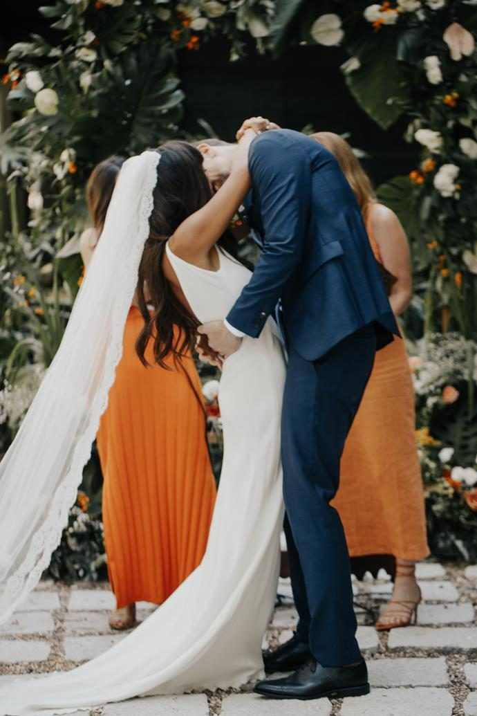 **What was the ceremony like?**  <br><br> Very us—we had two of our best friends officiate, we wrote our own vows and we used meaningful songs to us as a couple.