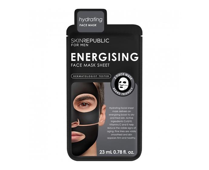 "**Energising Face Mask Sheet by Skin Republic, $7.99 at [Priceline](https://www.priceline.com.au/mens/mens-skincare/mens-facial-treatments/skin-republic-men-s-energising-face-mask-sheet-1-ea|target=""_blank""