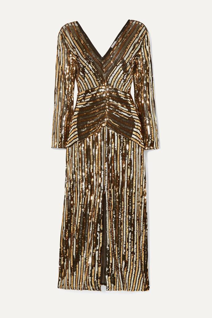 "'Emmy' striped dress by Rixo London, $342 at [Net-a-Porter](https://fave.co/2YAnb7Y|target=""_blank""|rel=""nofollow"")"