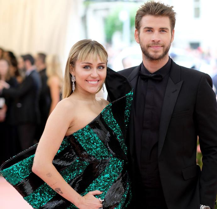 "**Miley Cyrus and Liam Hemsworth** <br><br> In early August 2019, a representative for Miley Cyrus and Liam Hemsworth confirmed that the couple had split, after nine months of marriage and a decade of on/off dating. In a statement given to *E! News* and *People*, the rep said: ""Ever-evolving, changing as partners and individuals, they have decided this is what's best while they focus on themselves and their careers."" <br><br> Since then, Cyrus has been linked to [Cody Simpson](https://www.elle.com.au/celebrity/cody-simpson-miley-cyrus-drama-22510