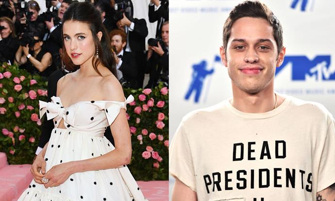 "**Pete Davidson and Margaret Qualley** <br><br> Following his relationships with both Ariana Grande and Kate Beckinsale, *Saturday Night Live* actor Pete Davidson enjoyed a brief fling with *Once Upon a Time in Hollywood* star Margaret Qualley. After the two were spotted together at the 2019 Venice Film Festival in September, they reportedly split in October 2019, with *[Us Weekly](https://www.usmagazine.com/celebrity-news/news/pete-davidson-margaret-qualley-split-after-whirlwind-romance/|target=""_blank""