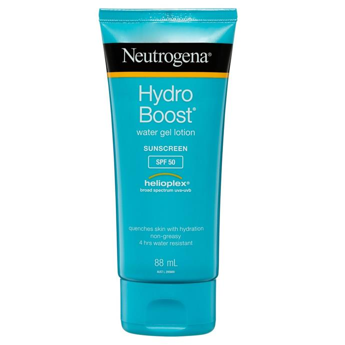 "**Hydro Boost Water Gel Lotion SPF 50+ 88ml by Neutrogena, $16.99 at [Priceline](https://www.priceline.com.au/neutrogenar-hydro-boost-water-gel-lotion-spf50-88-ml|target=""_blank""