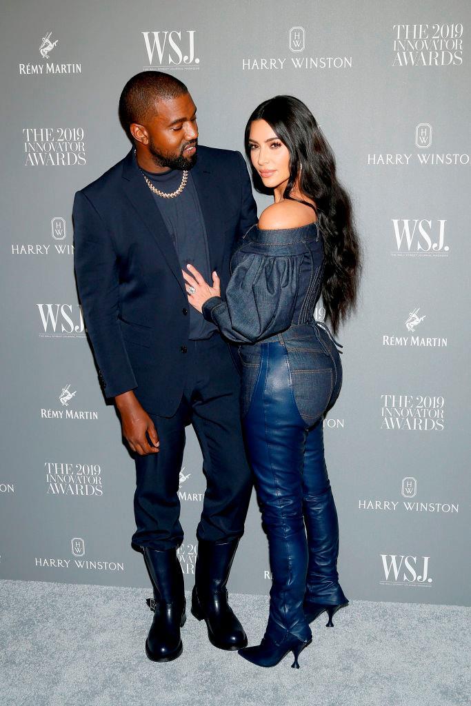 Kanye and Kim Kardashian West at the WSJ 2019 Innovator Awards in November 2019.