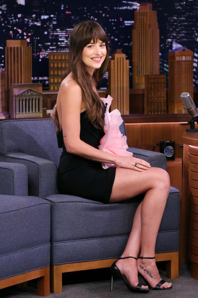 Dakota Johnson in Alexandre Vauthier Couture on *The Tonight Show Starring Jimmy Fallon* in August 2019.