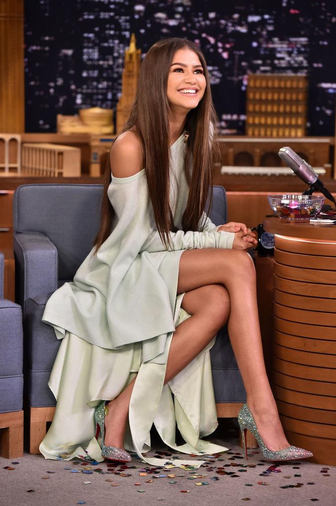 Zendaya in Sies Marjan, and Christian Louboutin heels, on *The Tonight Show Starring Jimmy Fallon* in June 2017.