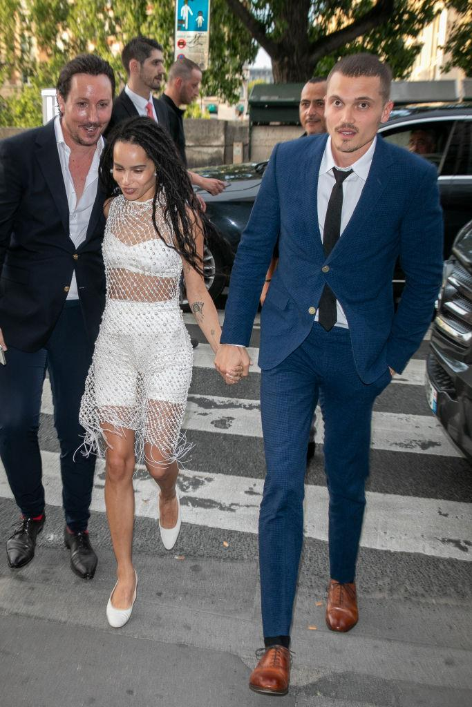 **9. Zoe Kravitz and Karl Glusman** <br><br> Although we're still yet to see photos from Zoe Kravitz's intimate wedding to Karl Glusman, public interest in the big day (which was held at her father Lenny Kravitz's Paris home) was high. We've no doubt that Kravitz's flawless rehearsal dinner outfit, consisting of a beaded sheath worn over white bike shorts and a bralette, probably contributed to the fascination.