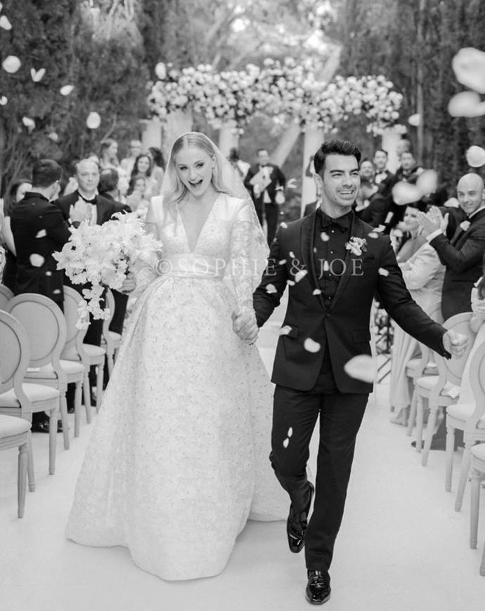 """**7. Sophie Turner and Joe Jonas** <br><br> When a member of one of the world's biggest boy bands marries Sansa Stark from *Game of Thrones*, the world takes notice. We were collectively obsessed with Jonas and Turner's nuptials, from their respective bachelor and bachelorette parties, to their pre-wedding [Parisian boat party](https://www.elle.com.au/celebrity/sophie-turner-joe-jonas-boat-party-20751