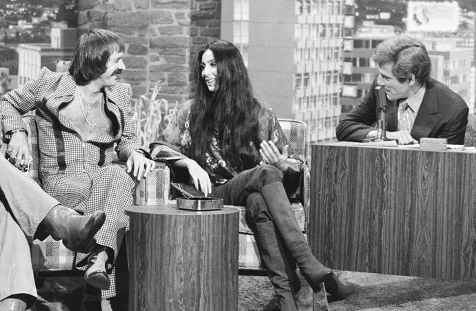 Cher on *The Tonight Show with Johnny Carson* in July 1975.