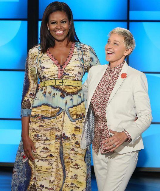 Michelle Obama in Gucci on *The Ellen DeGeneres Show* in October 2016.