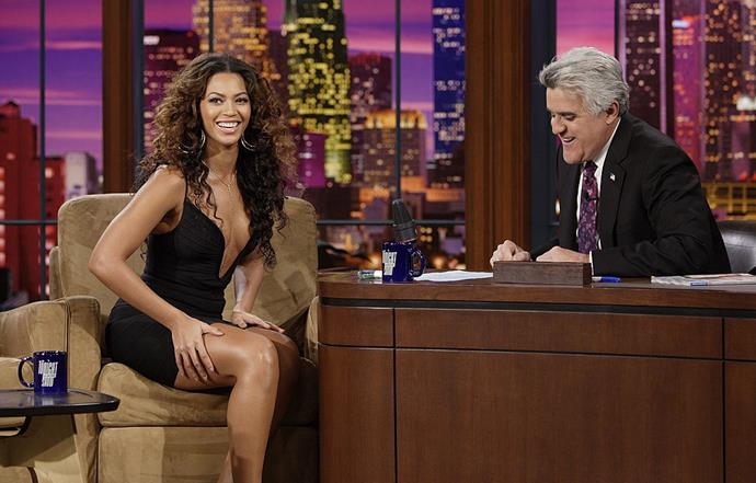 Beyoncé in a low-cut LBD on *The Tonight Show with Jay Leno* in February 2007.